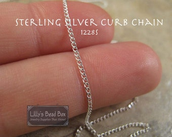 Thin Sterling Silver Chain, Sterling Silver 1.1mm Curb Chain, By The Foot, Chain for Jewelry Making (1228s)