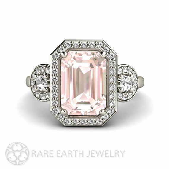 pink morganite engagement ring emerald halo by