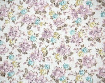 1950s Vintage Wallpaper - Floral Vintage Wallpaper with Purple and Blue Chintz Flowers on White