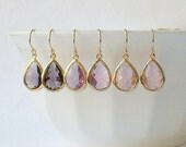 Amethyst Purple, Lilac Orchid, Pale Pink Crystal Drop Earrings, Crystal Drop Earrings, Bridesmaid Earrings