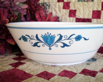 Noritake Vegetable Bowl, Vintage 60s Blue Haven Progression Pattern, Rustic Country Kitchen Decor Serving Bowl has Blue Flowers and Bands,