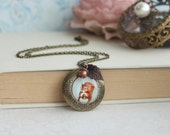 Squirrel Acorn Necklace Squirrel Locket Necklace Squirrel Jewelry Acorn Antique Brass Necklace Woodland Squirrel Whimsical Christmas Gift