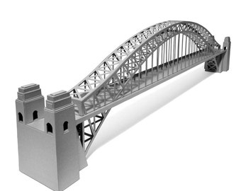 Sydney Harbour Bridge, architectural paper scale model || 24 inches long || choose metallic silver or white