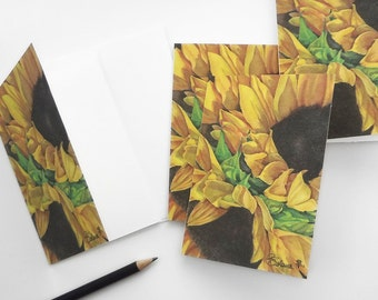 sunflower cards, sunflowers card set, flower invitations, flowers art print card, botanical note card