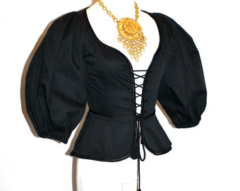 SAINT LAURENT Vintage Rive Gauche Corset Black Iconic Full Sleeve Lace Up Bustier - AUTHENTIC -