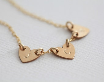 gold initial necklace, heart necklace, family tree necklace, mom necklace - gold filled