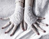 Lace Gloves Fingerless Mittens - Snow White Floral - Wedding Bridal Victorian Bridesmaid Vampire Belly Dance Gothic Goth Bohemian - Elspeth