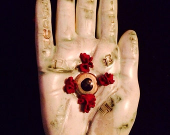 VALENTINE sALE! Good Luck Lover Valentine Palm of Fortune Crimson roses handmade OOAK Chirology kiln fired clay & leather fortune palm
