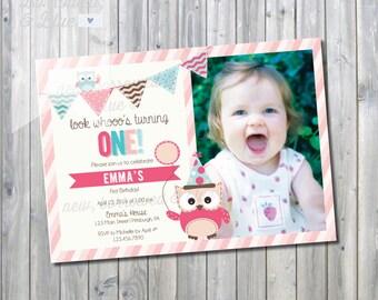 Printable Look Whoo's Turning One Birthday Invite