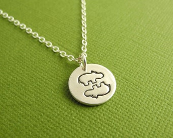 Tiny Twin Hippo Necklace, Little Hippo Twins Necklace, Fine Silver, Sterling Silver Chain, Ready To Ship