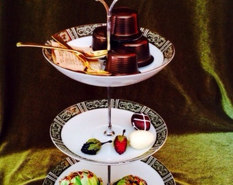 Three Tier Dessert Stand vintage plates for parties showers sale for this set only