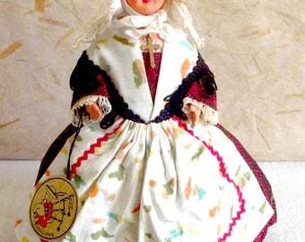 French Celluloid Vendée (ST Gilles Croix de Vie) costume doll, folk doll, vintage, Philippe, France, Atlantic Coast