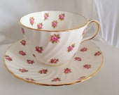 Aynsley Rosebud English Fine Bone China Floral Vintage Teacup & Saucer Set - Pink white rosebuds -  posies - flowers rose - afternoon party