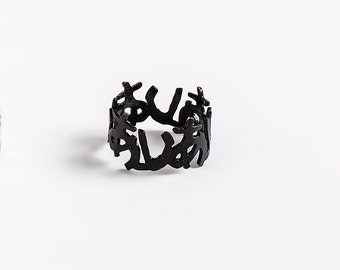Black Ring Band , Japanese Love Word Ring , Wide Band Ring