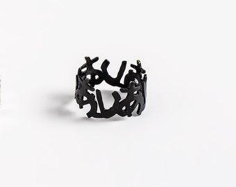 Black Wedding Ring, Black Wedding Band, Love Word Ring, Black Ring Band, Sterling Silver Ring