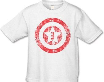 3rd Birthday Shirt -American Superhero Birthday T-Shirt -Superhero Birthday Party - Birthday Shirts - Distressed Graphic -Choose your number