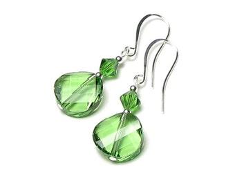 Peridot Green Swarovski Crystal Twist Bead Silver Dangle Earrings August Birthstone Bright Summer Jewelry Fun Fresh Gift Idea For Women Teen