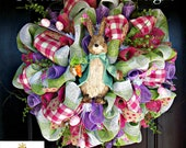 Easter Bunny Wreath, Easter Decor, Easter Wreath, Spring Wreath, Spring Door Wreath, Front Door Wreath