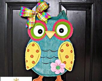 Burlap Owl Door Hanging