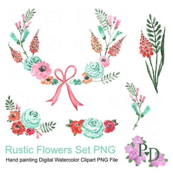 Rustic Flowers Clipart Floral Wreath PNG File