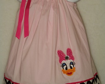 Daisy Duck Pillowcase Dress / Pink / Chevron / Disney / Minnie Mouse / Disney / Infant / Baby / Girl / Toddler / Custom Boutique Clothing