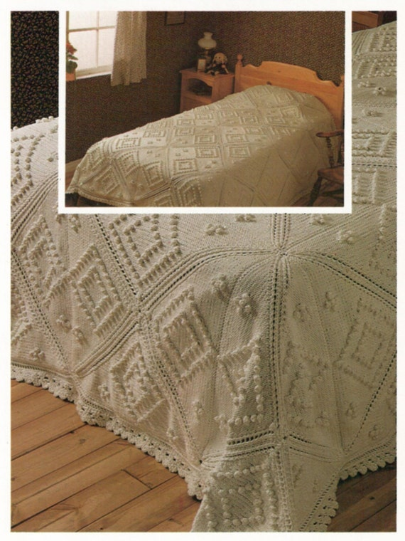 Instant download pdf knitting pattern to make a patchwork for Studio one bed cover