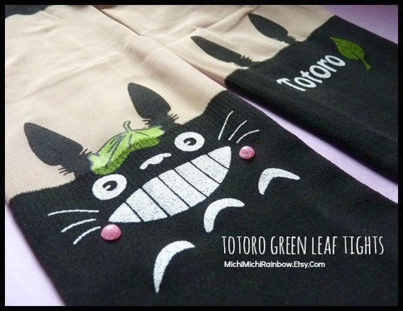 Totoro Green Leaf Knee High Hosiery Pantyhose Tattoo Socks Leggings Tights Stockings