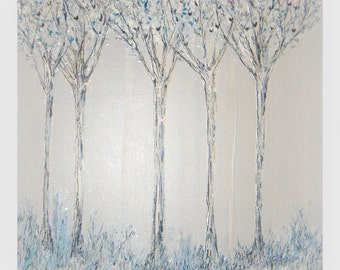 Winter Tree Magical Silver Blue Sparkles Monochromatic Landscape Painting , Natures Canvas Walk Peacefully with Me ,Canvas-Sherischart