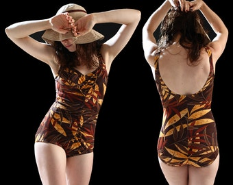 1970s Palm Print Swimsuit, One piece bathing suit Maillot , Tan Gold Chocolate Pin-Up Ruched, size Medium California Vintage, 70s Foxy Brown