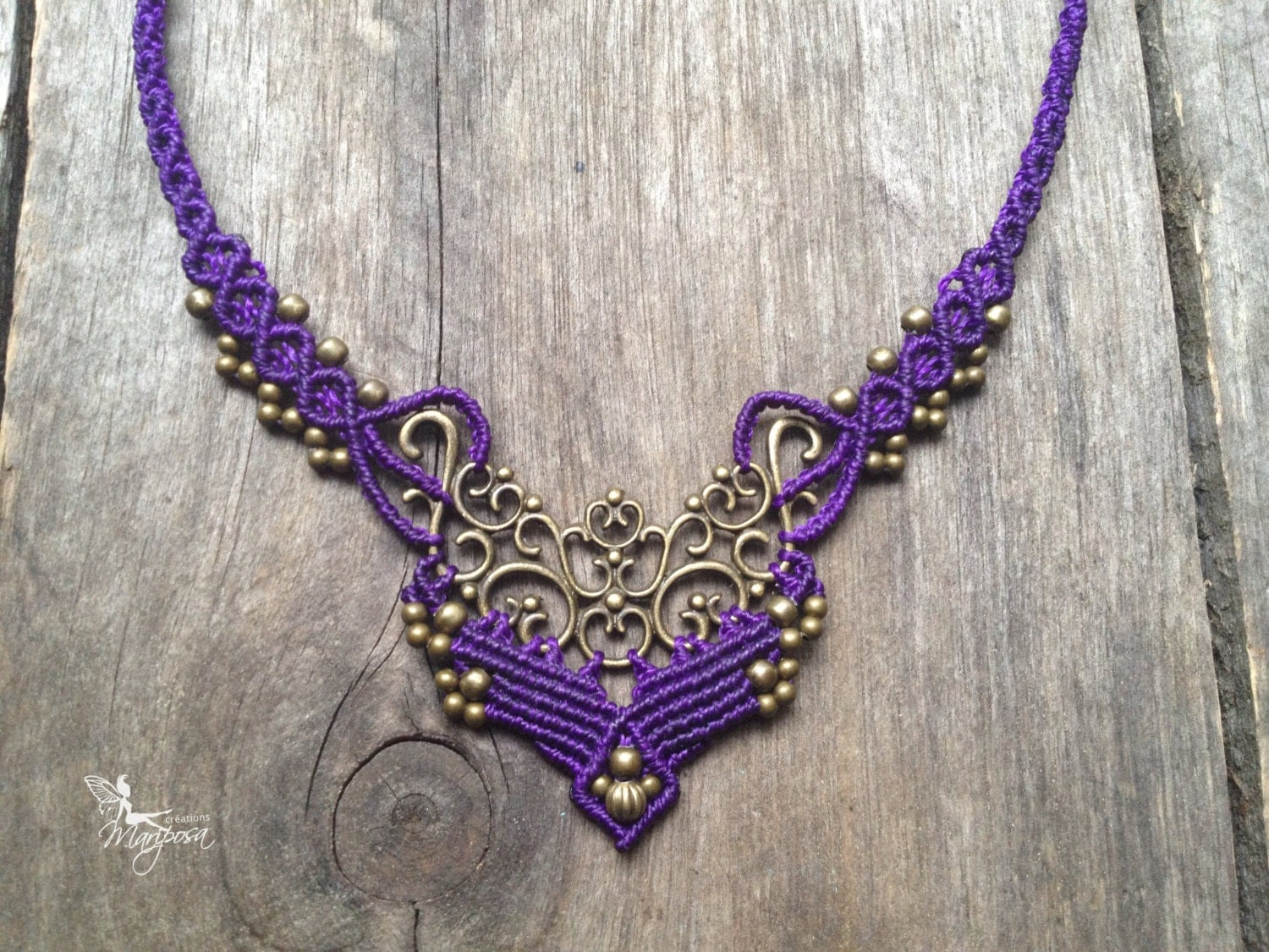 micro macrame jewellery micro macrame necklace elven jewelry violet necklace boho 5577