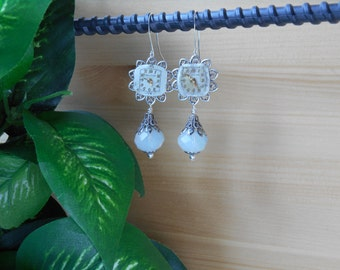 Upcycled Earrings ~ Vintage Bulova Watch Face ~ Opaque White Moonstone Beadwork