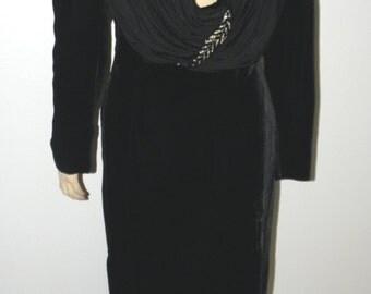 Vintage VALENTINO Dress: Long Black Velvet & Silk Maxi Dress, sz Small