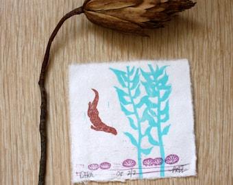Otter in Kelp Miniature Linocut Block Print Sea Urchin Stamp