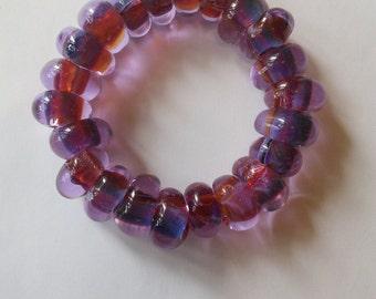 Lavender and purple Borosilicate bead bracelet.