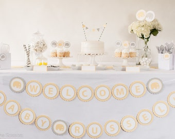 Baby Shower Banner - WELCOME BABY (Custom Name) - Elephant Baby Shower Decoration -  Elephant Baby Banner - Yellow and Gray Baby Shower