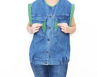 Vintage blue denim oversized vest with green edges / 80s