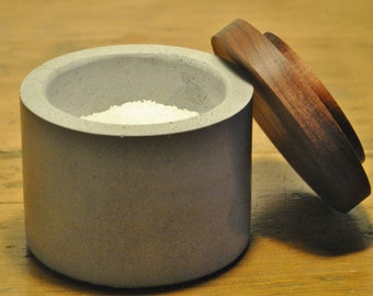 Concrete Salt Cellar / Salt Pinch Bowl / Sugar Bowl with Black Walnut Lid