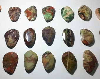 Green Turquoise, Boulder Opal, and Rust Color Faceted Oval Geometric Pendant Beads 40mm - 48mm