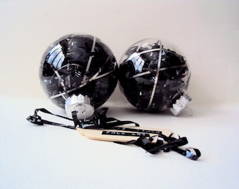 Black & Silver Christmas Ornament - New Years Party Decorations - Recycled Cassette Tape Ball Ornament - Retro Decor - Christmas Bauble