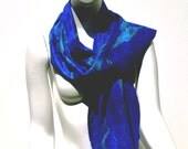 Nuno felted Scarf Electric Blue with splashes of turquoise