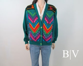 Vintage 80's 90's Southwest Sweater Boho Ethnic Mexican Neon Hippie Sweater Tribal Sweater Slouchy Sweater Hippie Cardigan Boho Jacket G1