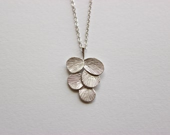Silver Necklace - Long Necklace - Matte Silver Chain with Silver Circle Leaf Pendant