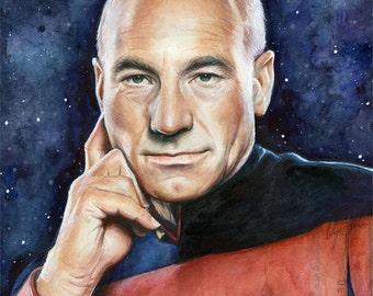 Captain Picard Portrait Star Trek Art Watercolor Painting Giclee Print Patrick Stewart Sci-Fi Art Illustration