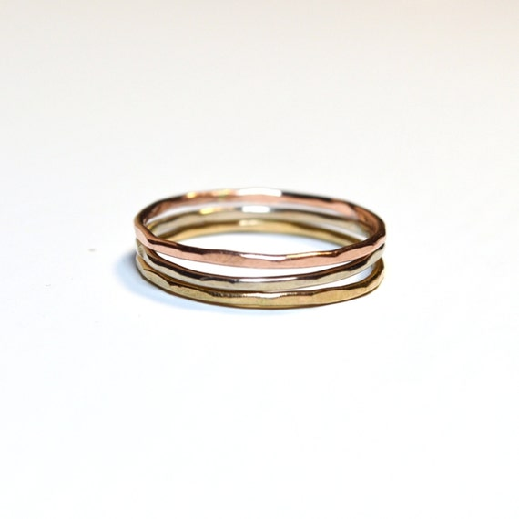 14k Tri Gold Stacking Rings. Hammered or Smooth. Solid White, Pink, and Yellow Gold