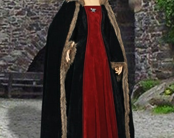 Faux Fur-Trimmed Medieval Dress No. 83 with Hood
