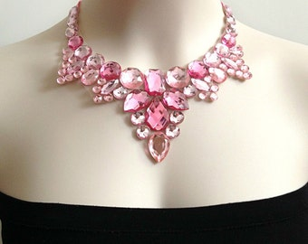 light pink and cotton candy bib rhinestone bib necklace, bridesmaids, wedding, prom party necklace