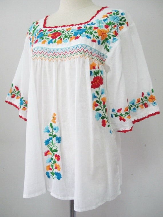 Embroidered Mexican Blouse White Cotton Top Boho Blouse Hippie