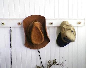 """Western Horse Knob Hat Rack, 35""""..Recycled Wood Wall Organizer Jewelry Organizer Key Holder Cowboy Equestrian Decor"""