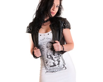 Piece of Heart white Tank Dress Cotton Zombie Pin-up Print Made in Italy