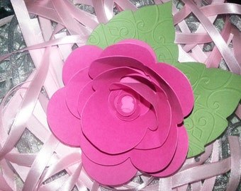 20  LARGE  PINK PAPER Flowers With Hand Embossed Leaves